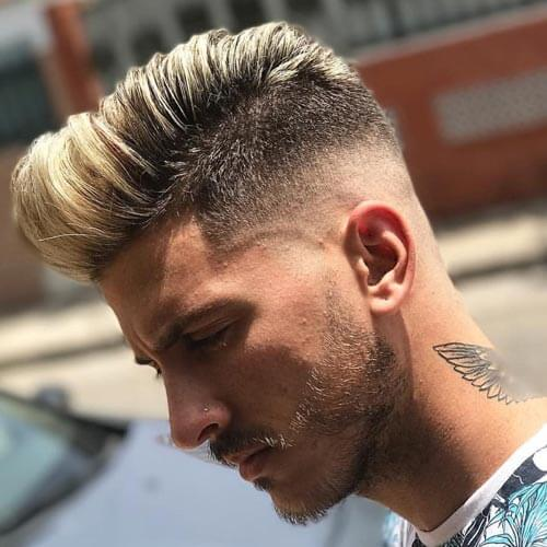 Skin Faded Quiff with Highlighted Top