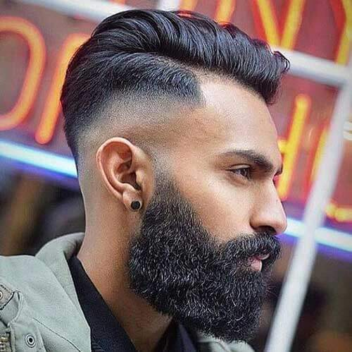 Skin Fade Comb Over with Edgy Beard