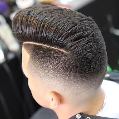 Layered Pompadour with Quiff and Taper Fade