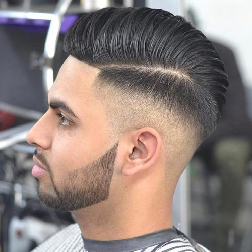 Skin Fade Pompadour with Part