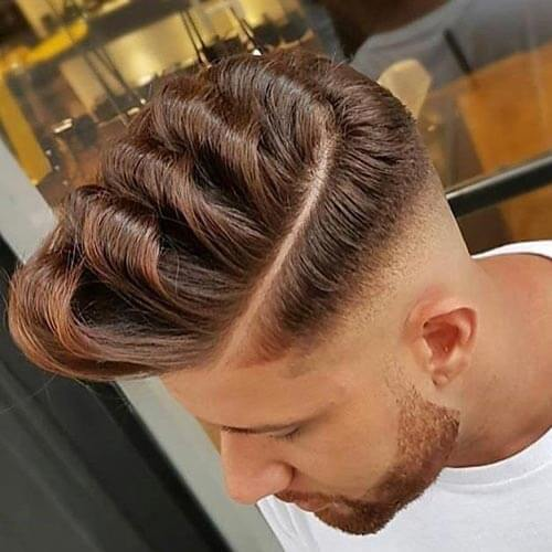 Wavy Pompadour with High Drop Fade