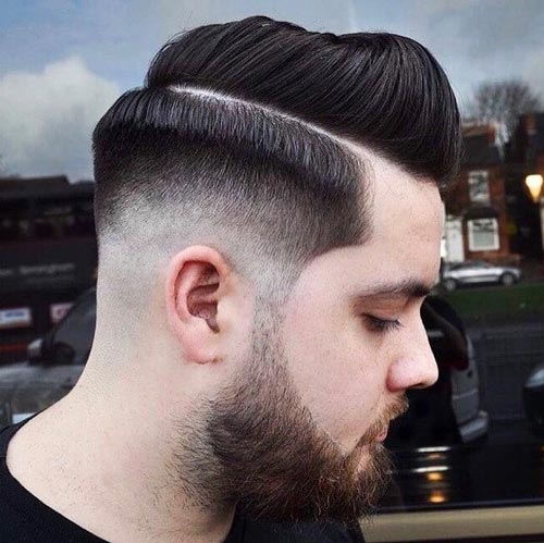 Crown Parted Pompadour with Drop fade