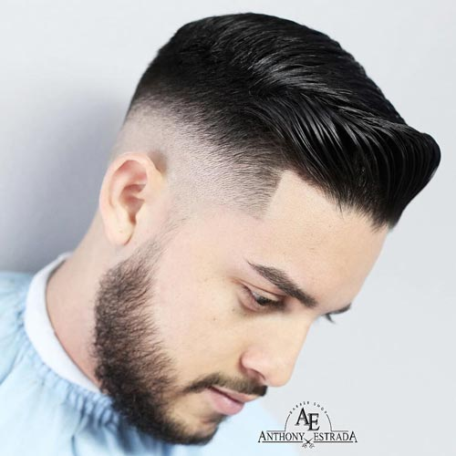 Slicked Comb Over with Skin Fade