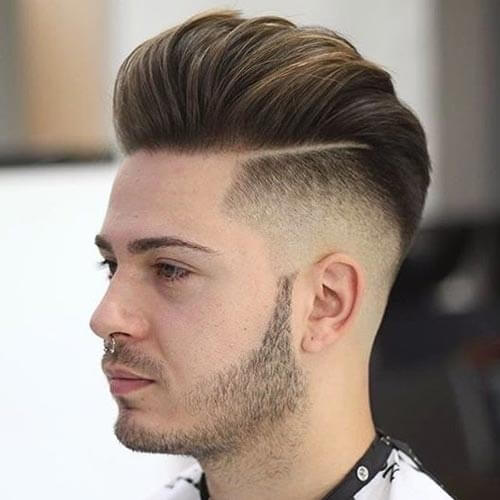 Layered Pompadour with Taper Fade