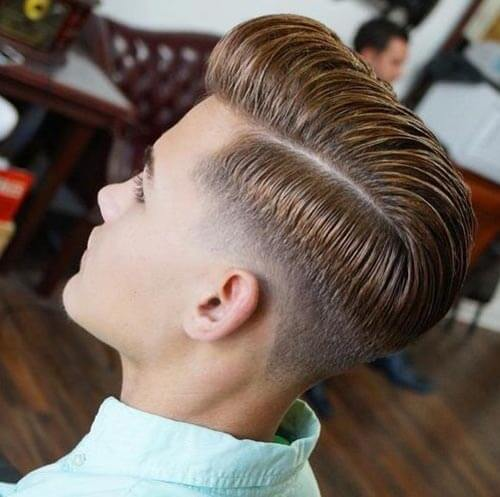 Pompadour Fade with Comb Over and Drop Fade