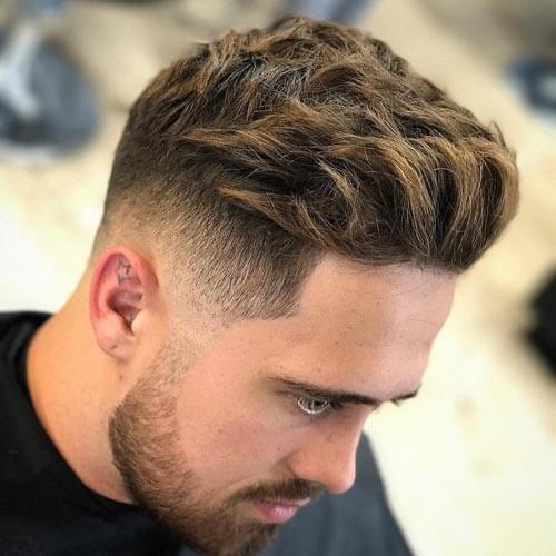 Pompadour with Highlighted Tips - Men's Short Hairstyles