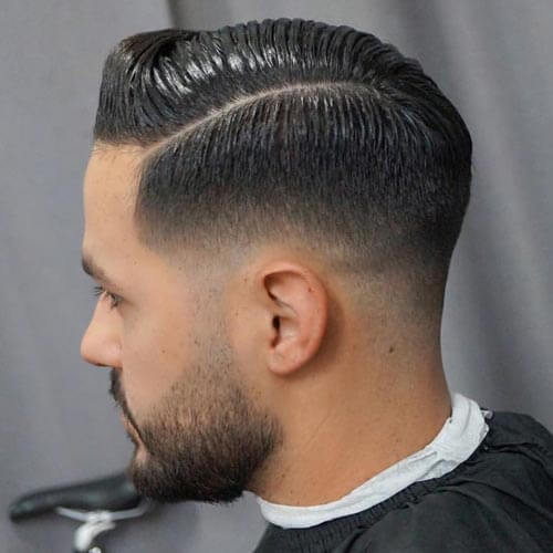 Sliced Side Part with Low Fade