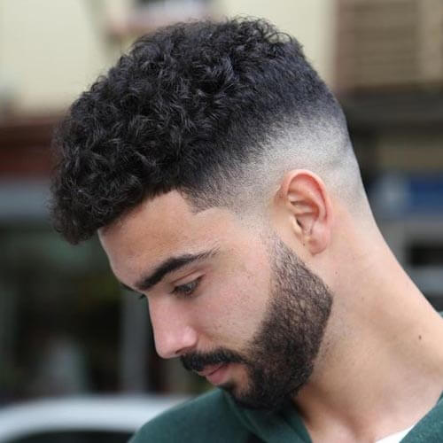 Curly Hair with Temp Fade -Short Haircut