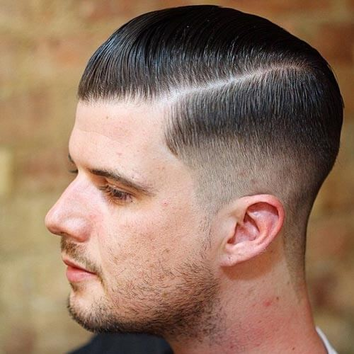 Side Slicked Haircut With Low Fade