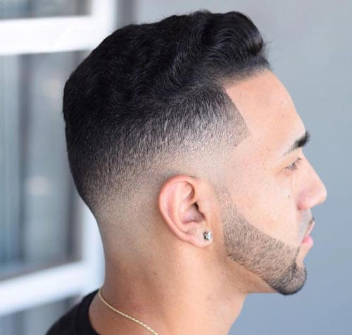 Wavy Pompadour with Temple Fade