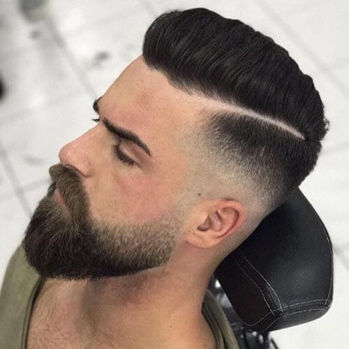 Deep Side Part Pompadour - Men's Short Haircut