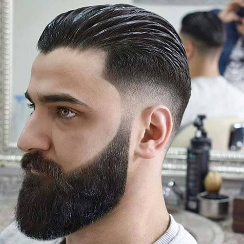 Slicked Back with Mid Fade