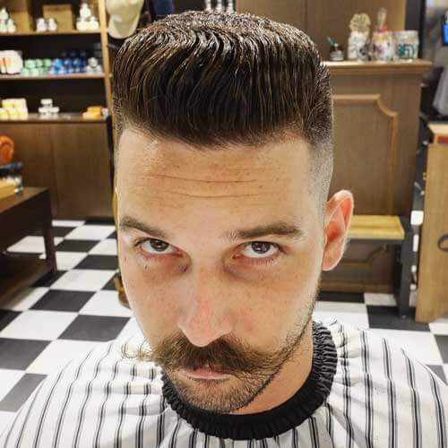 Pompadour Flat Top with Skin Fade