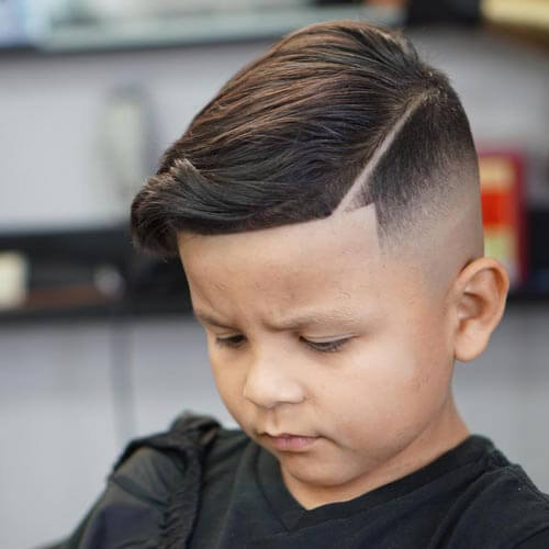 toddler boy haircuts - Side Combed Hair With Part and Fade