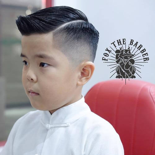 Cute Little Boy Haircuts - Razor Cut With Deep Part and Fade