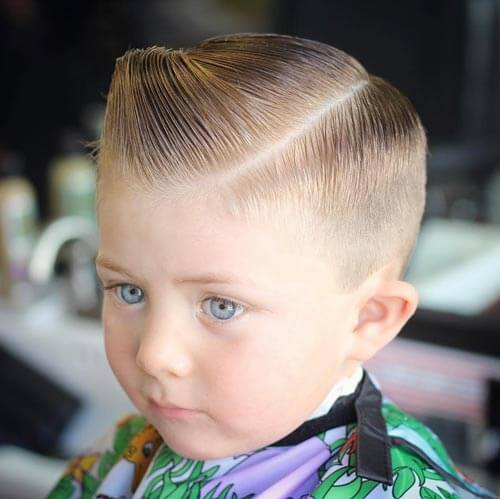 Cute Little Boy Haircuts - Slick Comb Over with Side Part