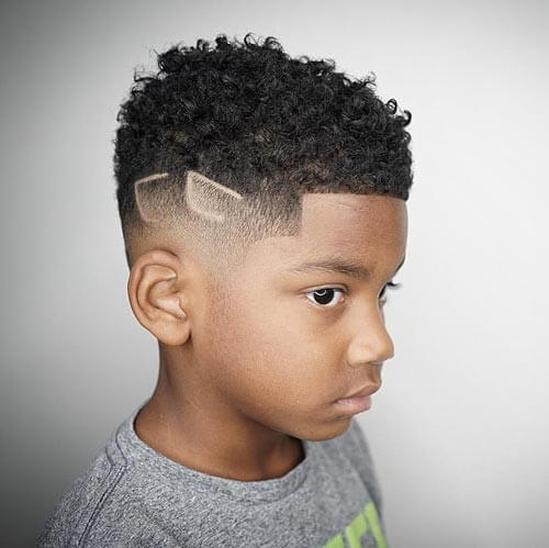 Cute Little Boy Haircuts - Kinky Hair with Design