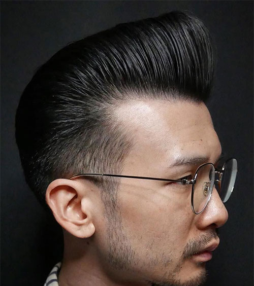 Asian Men with Long Layered Pompadour