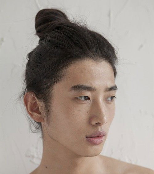 Classic Asian Man Bun Hairstyle