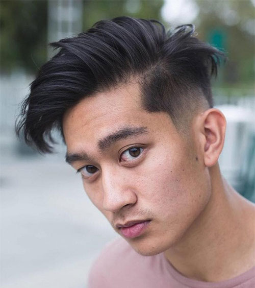 Asian Men Side Swept Haircut