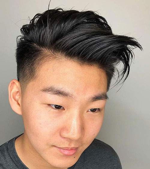 Side Swept Haircut with Taper Fade