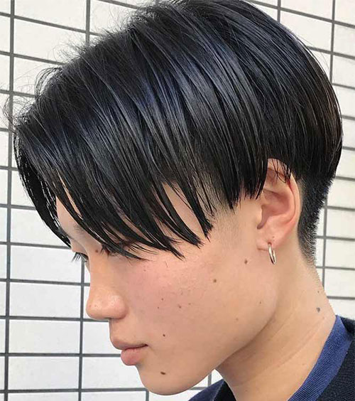 Two Block Haircut Straight Medium