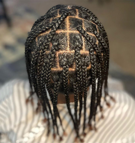 Box Braids with Highlighted Edges