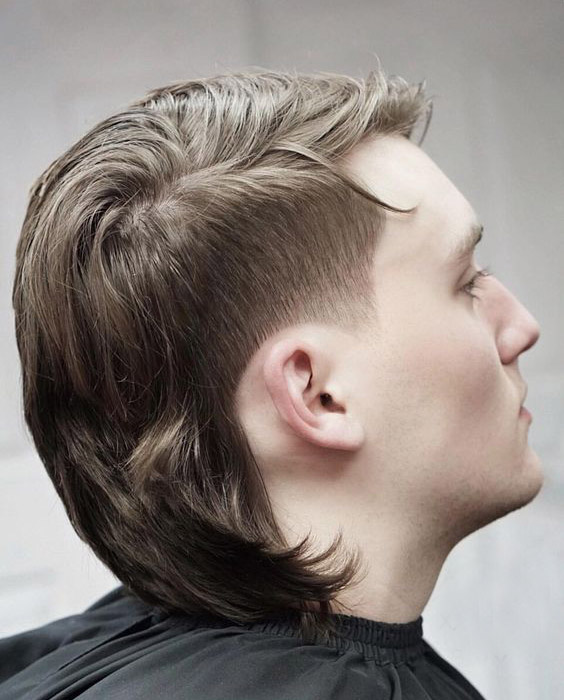 Mullet with Side Part