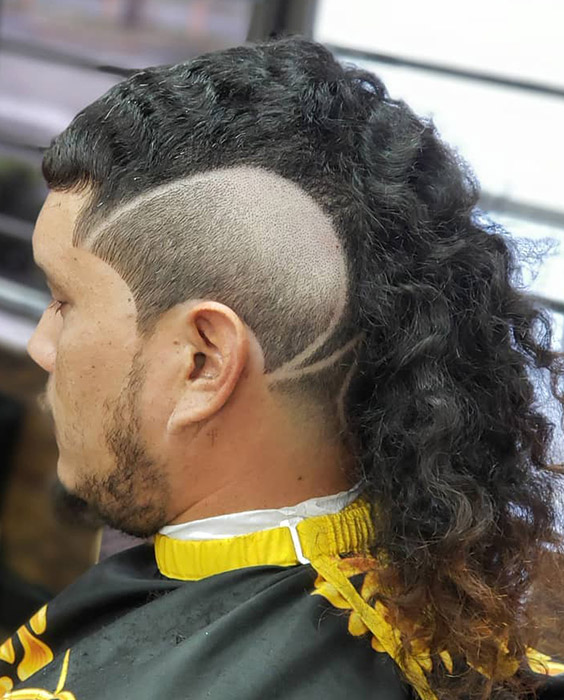 Long Wavy Mullet with Reverse Fade