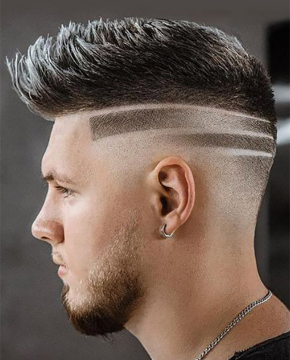 Edgy Pompadour with Lined Fades