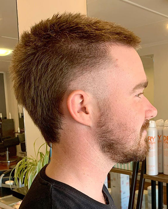 Buzz Cut and Mullet Fade Hybrid