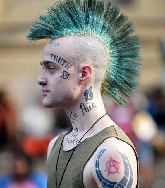 Teal Striped Fan Punk Mohawk