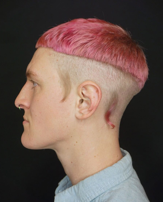 Hot Pink Bowl Cut with Rat Tails