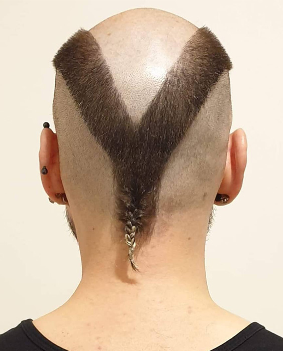 V Shape Buzz Cut with Tail