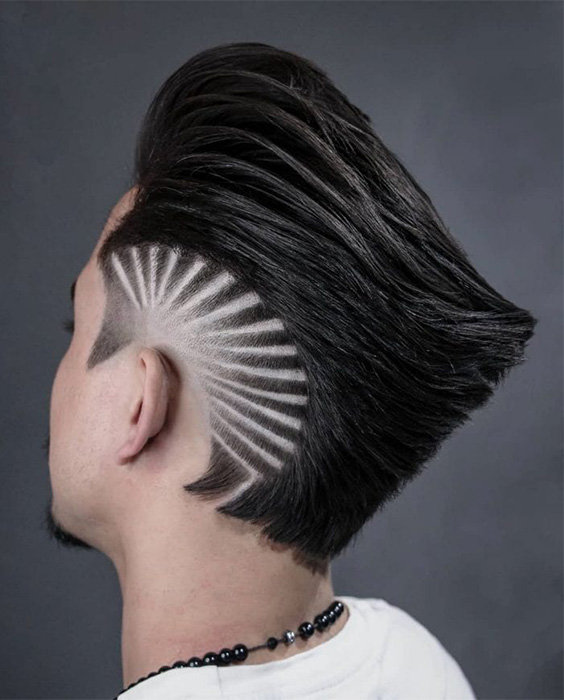 Ducktail Haircut with Sunset Design