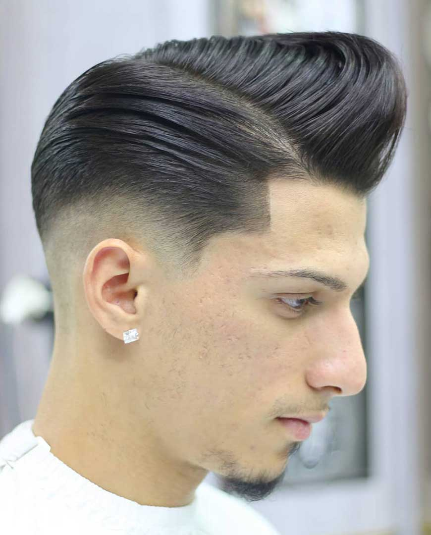 Disconnected Pompadour with Low Skin Fade