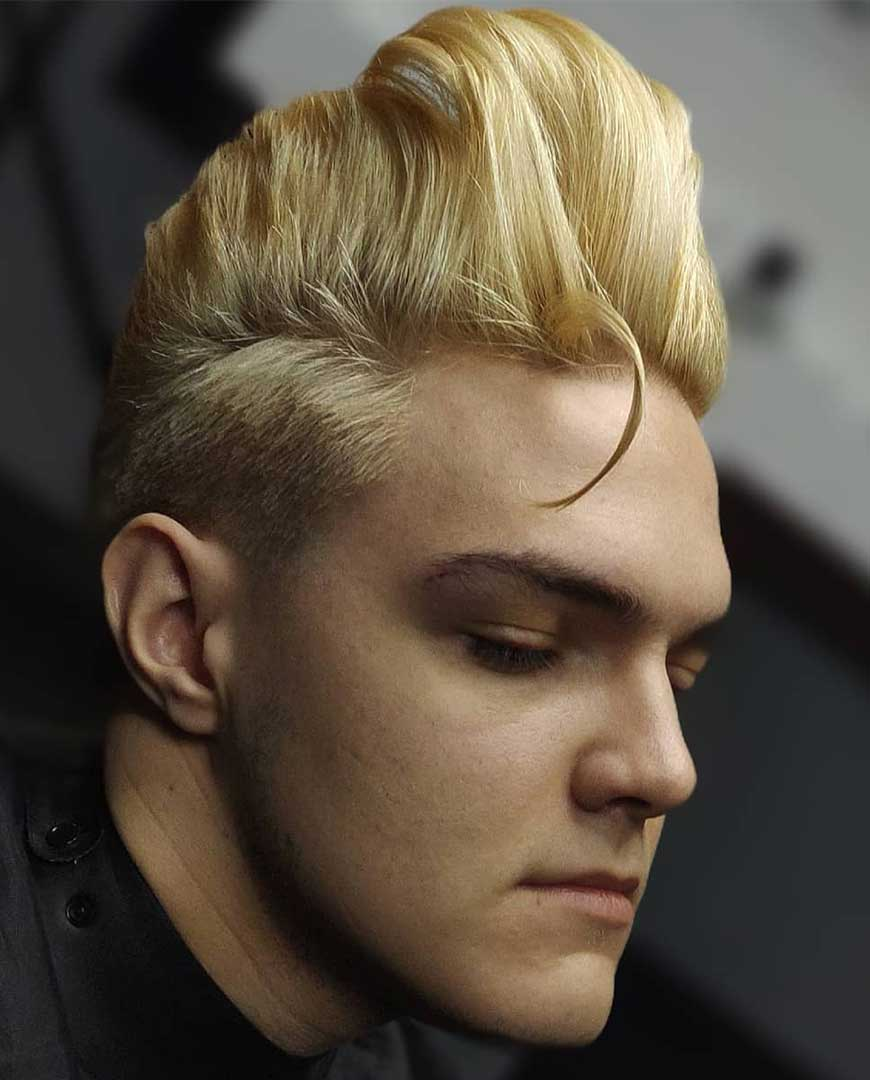 Blonde Brushed up Pompadour with Taper Fade