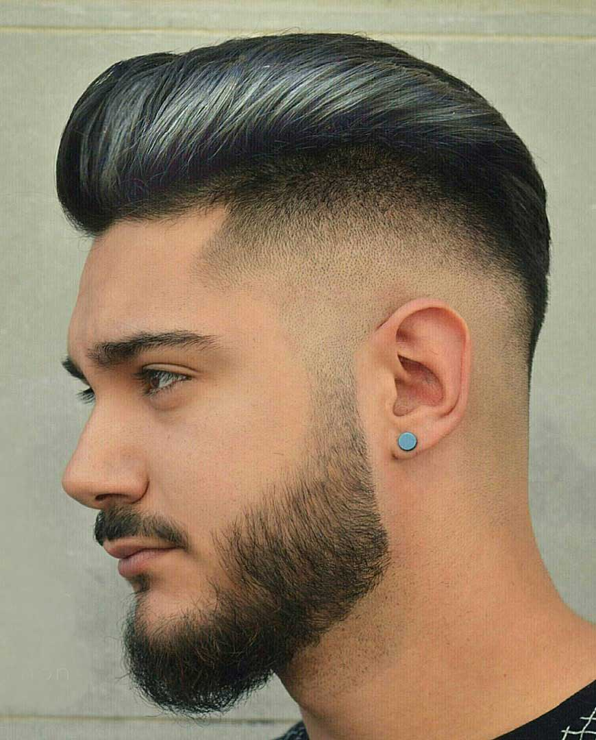 Highlighted Slicked Back Pompadour Haircut
