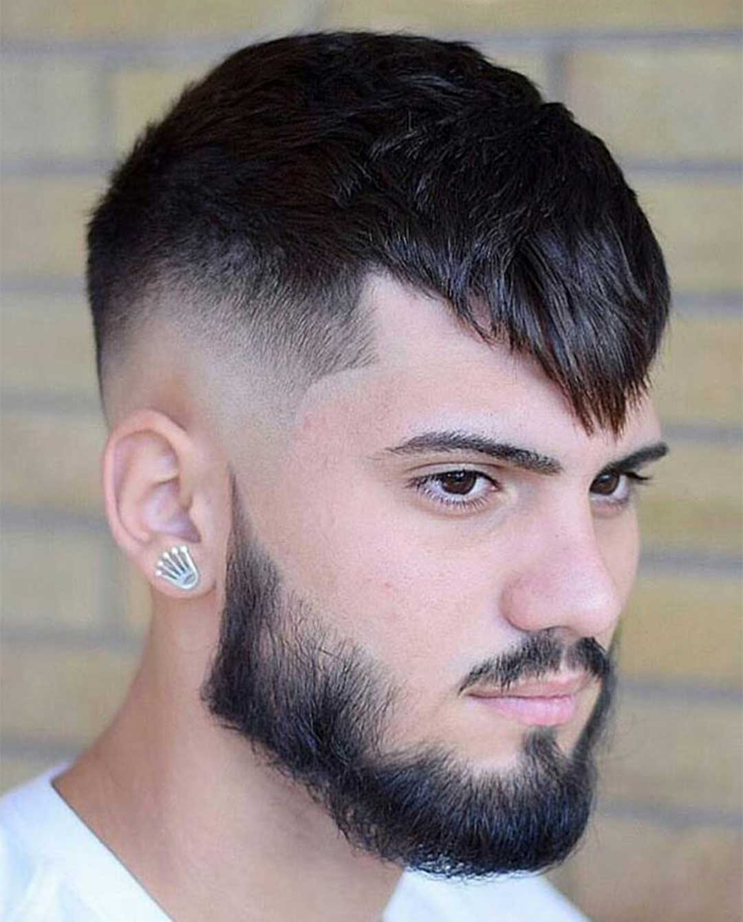 High Fade with Long Fringe