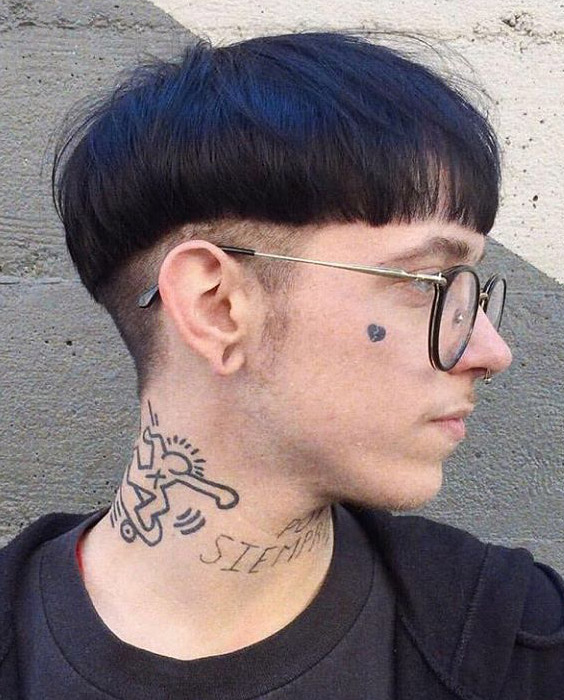 Dyed Blue Bowl Cut