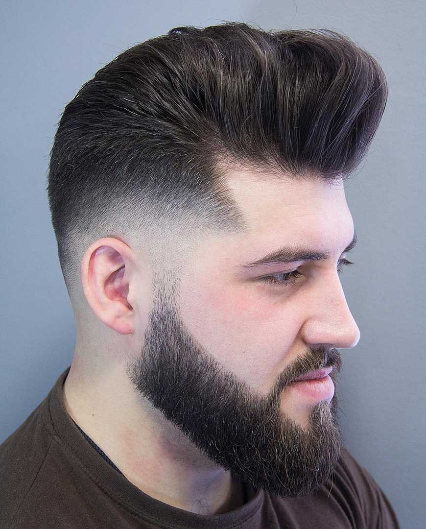 Long hair Pompadour with Temple Fade
