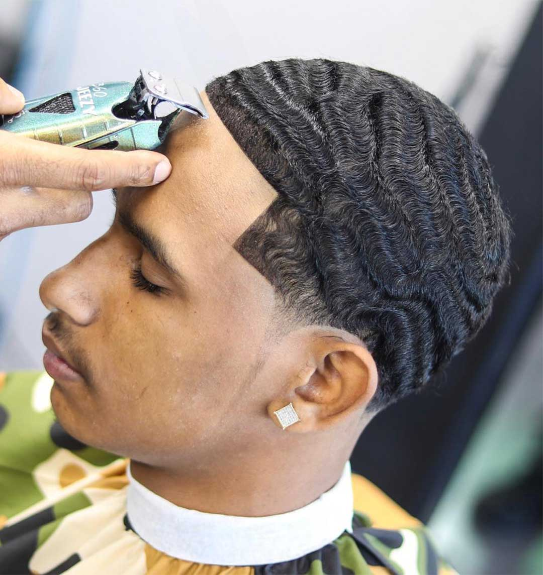 2 Guard Haircut Waves with Temple Fade
