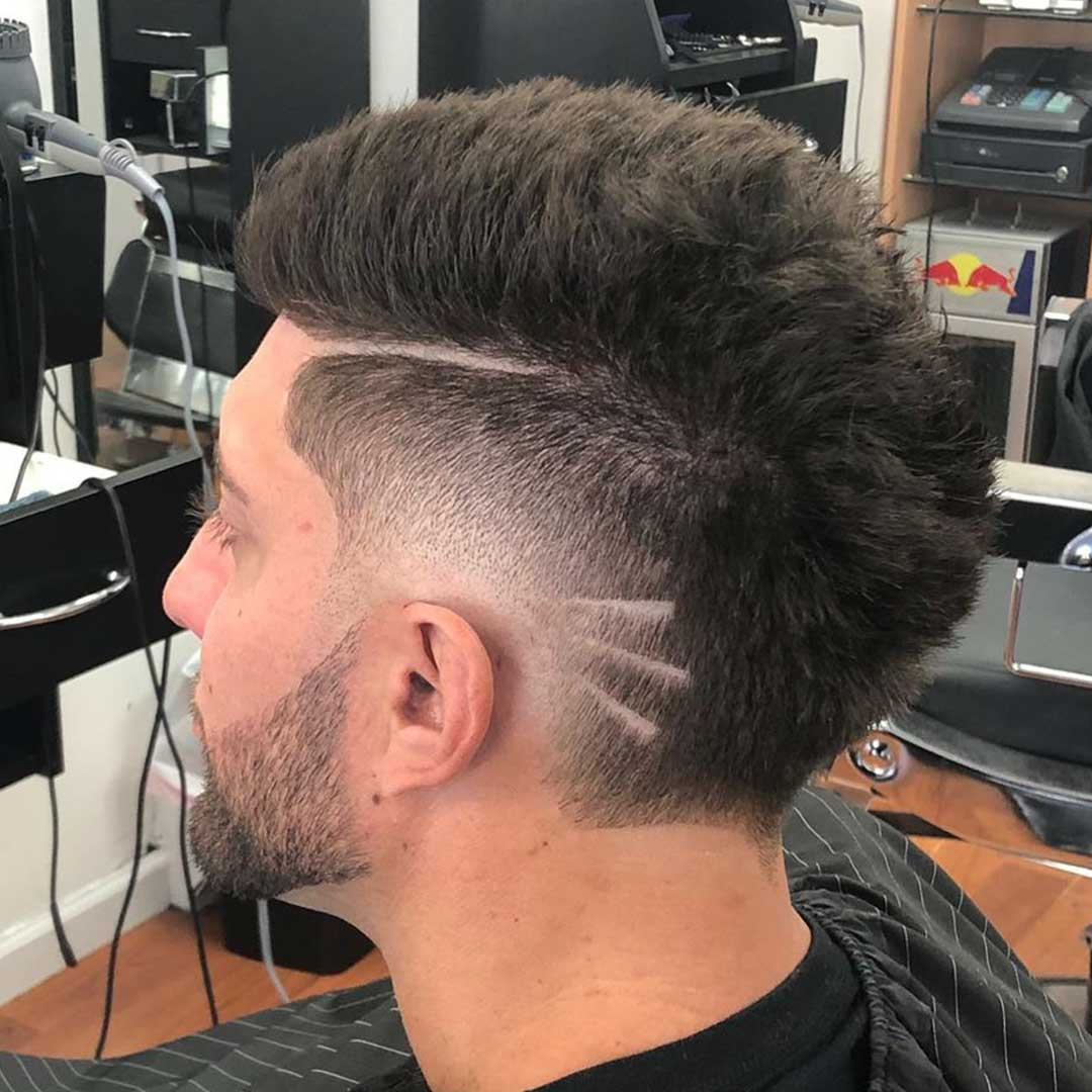 Low Skin Fade with Lines