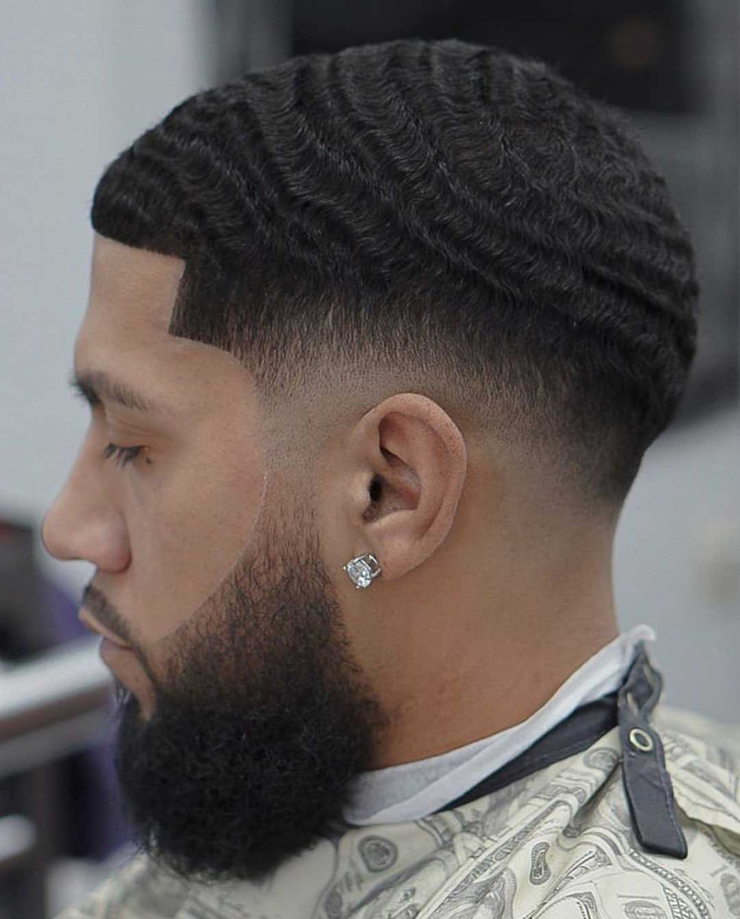Low Fade Haircut with Waves