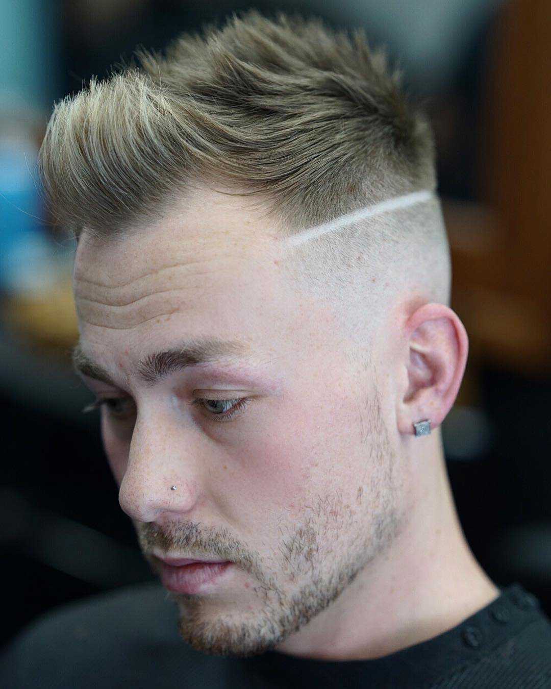 Faux Hawk Quiff with Hard Line