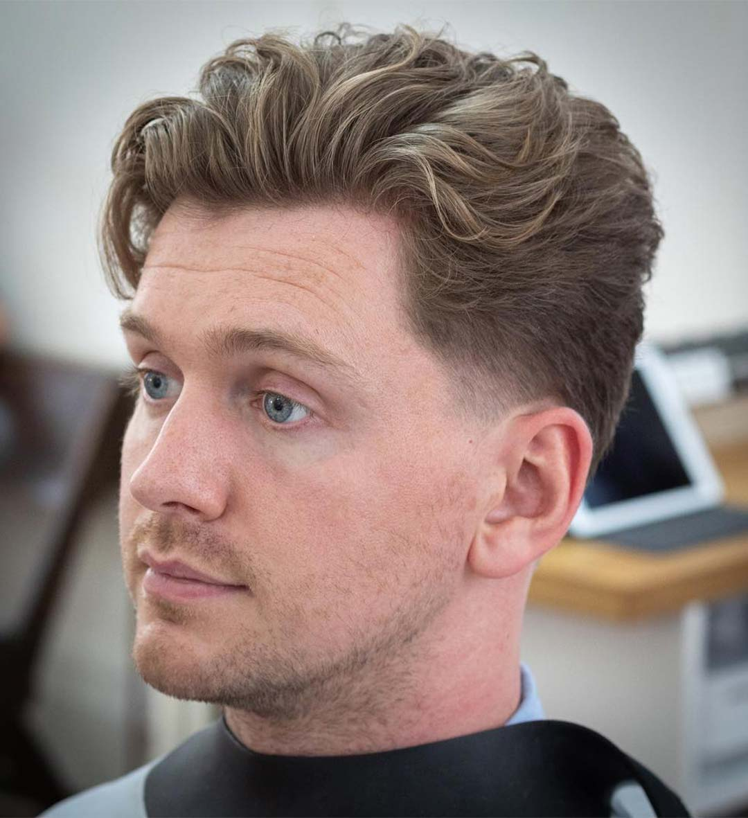 Wavy Hair with Low Taper